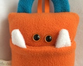 Tooth Fairy Pillow | Orange and Turquoise Tooth Monster | Tooth Monster Pillow