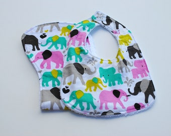Elephant bib/burp cloth set, bib, burp cloth, ready to ship