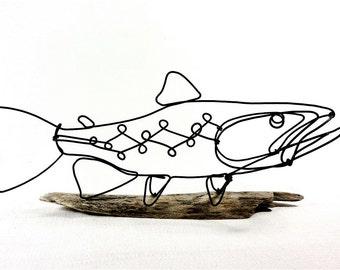 Trout Wire Sculpture, Fish Wire Art, Minimal Wire Design, 453625850