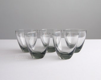 5 Holmegaard Danish Smoke Gray Glass Old Fashioned Glasses