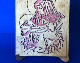 Mary and Jesus Wood Plaque w/Stand