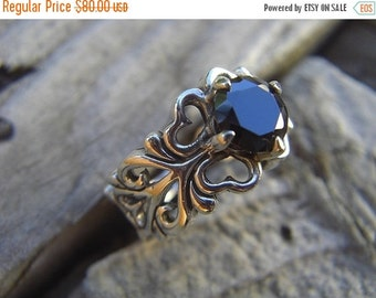 ON SALE Medieval ring with a black CZ in sterling silver
