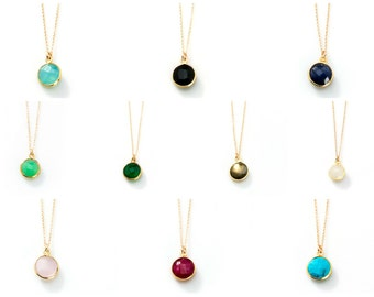 Birthstone ALL COLORS Bezel Stone Necklace on Gold Filled Chain - NG01-16