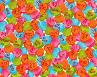 Valentine Heart Candy Fabric  - New - great for sewing, quilting, sewing and crafts