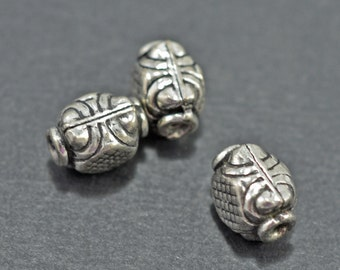 Silver plated square beads, 10mm - #1930