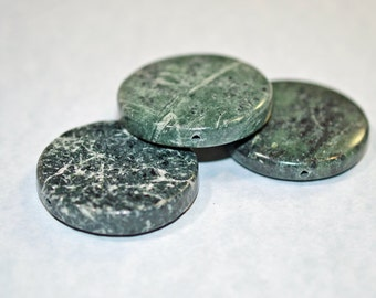 Green marble coins, drilled and polished - #1254