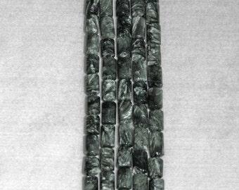 Seraphinite, Seraphinite Bead, Tube Bead, Cylinder Bead, Smooth Bead, Natural Stone, Rare, Russia, 13mm, 10 beads