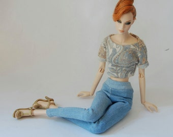 Slim tube jeans pants/leggins for Ficon and similar 16 inch 1/4 scale fashion dolls