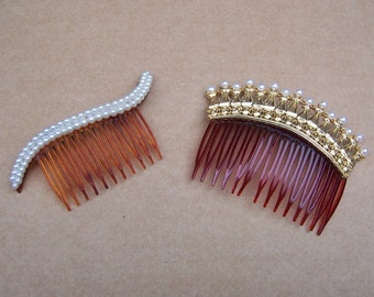 Vintage hair combs 2 faux pearl hair accessory headdress headpiece hair jewellery decorative combs