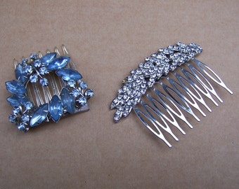 Two Hollywood Regency hair accessories rhinestone hair comb hair jewelry hair ornament headdress headpiece