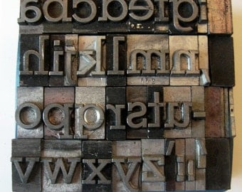 Vintage Metal Letterpress Type 26 plus Pieces Lowercase Complete