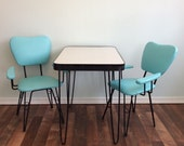 Kitschy Kitsch Kids MCM Formica Wrought Iron Kitchen Set Table and Two Chairs Children Sized 50s Diner Style Hair Pin Leg Formica Set