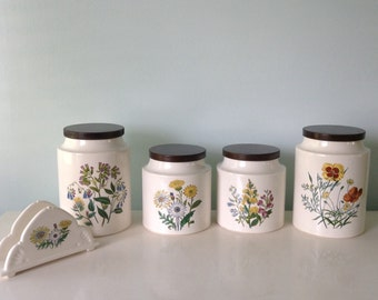 White Ceramic Kitchen Canisters Botanical WIldflower Illustrations Vintage 1970s Hyalyn Ceramic Canister Set, Container, Floral USA Pottery