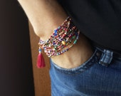 """Fiesta Beaded Wrap Bracelet with or without Tassel or Charm - 87"""" Long Seed Bead Stretch Bracelet"""