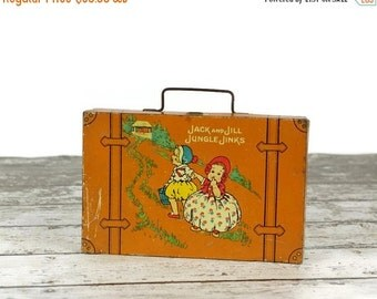 On Sale California Perfume Co. Tin, Jack and Jill Jungle Jinks, Tin Toy Doll Suitcase, Vintage Avon