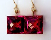 18K Gold Red Topaz Single Stone Earrings, 18K Solid Gold Red Topaz Earrings, Solid Gold Single Stone Earrings