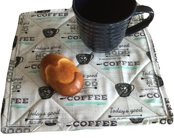 "10""x10"" Quilted Mug Rug - Coffee Lover Fabric - Reversible - Snack time mini placemat - oversized coaster -"