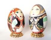 Polish Lady doll Easter egg pysanka ~ Christmas Easter gift for mother inlaw, babushka, teta,  Slavic Ukrainische Ostereier, retirement gift