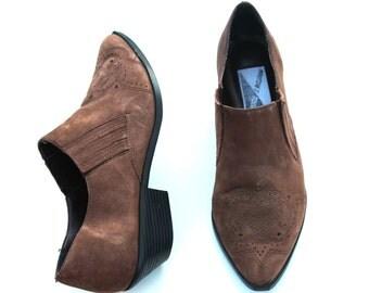 Vintage Mootsies Tootsies Dark Brown Suede Classic Dress Heels Shoes Sz 7.5