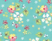 Large Floral Print in Aqua from the Little Miss Shabby Collection, by Corey Yoder, for Moda