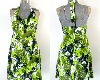 1970s Halter Mod Camo Mini Dress Pixelated Summer Daydress Large Size