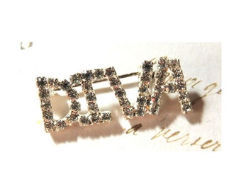 Diva Rhinestone Vintage Brooch Pin Jewelry
