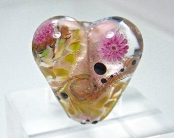Glitter and Flower Heart Focal Bead  by Caroline Dousi