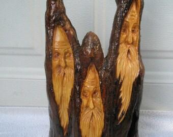Free Shipping Three Compadres Wood Spirit Santa carving