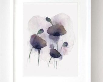 Purple Poppies Flower Watercolor - Fine Art Print