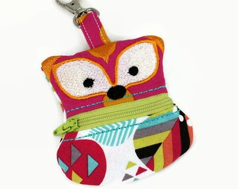 Fox Coin Pouch, Clip On Coin Pouch, Zippered Coin Purse, Floral Coin Pouch, Keychain Pouch, Backpack Keychain, Change Purse, Ear-bud holder
