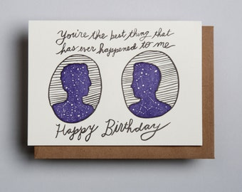"Letterpress card,  ""You're the best thing...Happy Birthday (MM)!"""
