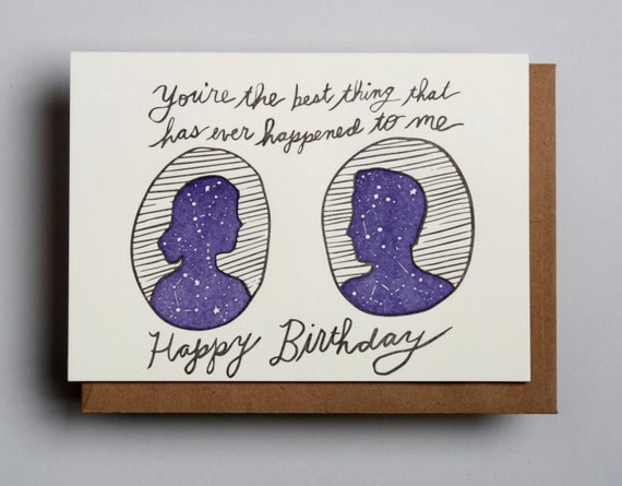 "Letterpress card,  ""You're the best thing...Happy Birthday (MF)!"""