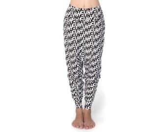Mature Low Crotch Pants - Harem Pants - Drop Crotch Pants - Low Crotch Pants - Black and White Print
