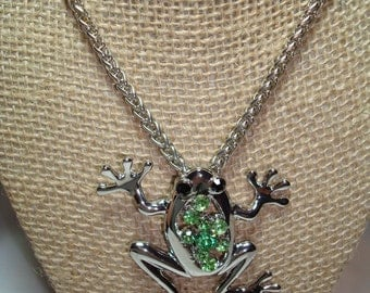 1995 Silver Tone Frog  Pendant Combo with Jewels.
