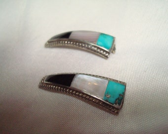 1970s Silver Turquoise Onyx Mother of Pearl Watchband Pieces.