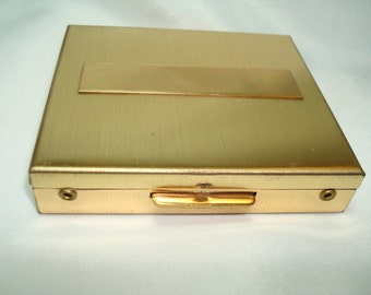 1989 Gold Tone Compact Pill Box.