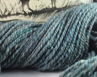 HandspunYarn Gently Thick and Thin Bulky Two Ply Domestic Wool Blend 'Huron Reflection' 6.4 oz.