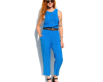 Cerulean blue sleeveless pantsuit with gold buttons 1990s 90s VINTAGE
