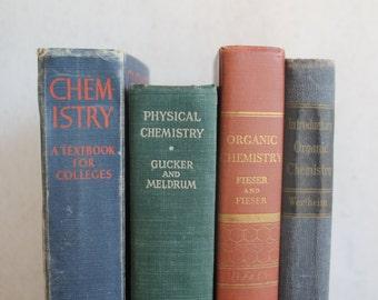 Antique 1940's Chemistry Books // Lot of 4 // Antique Text Books