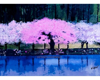 Cherry Trees  Limited Edition Fine Art Giclee Painting Print by V.Ann - Spring in Washington, DC 13x19