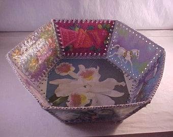 Crocheted Christmas Card Basket Christmas Card Bowl
