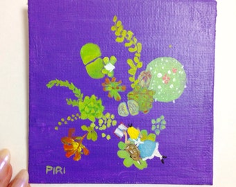 SALE. 50% OFF. A Curious Dream - Original Painting. Day 109. Art by Lilly Piri. Alice in Wonderland. Succulents
