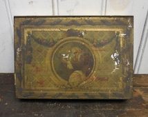 Antique tin box Depositato Almond candy Stradivarius Sperlari decorative art tin container