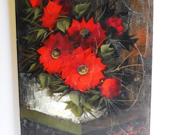 Vintage Oil painting Poppies flowers Palette knife art vertical canvas Bold red Green Black 20 x 24 signed artwork