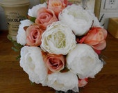 White Peony Pink and Peach Rose Silk Wedding Bouquet Easter Mothers Day or Special Occasion Gift or Floral Arrangement OOAK ready to ship