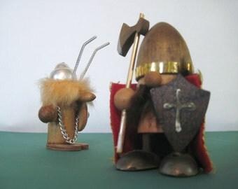 mcm, 2 VIKING figurines - wooden/teak, Scandinavian, 1960s, Danish, Norse, Hans Bolling Era, vintage, mid century modern, made in Japan