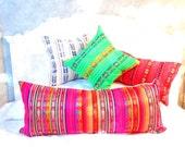Hot Pink Long bolster pillow cover Tribal Aztec Mexican Throw Boho chic long lumbar pillow, mexico pillow, pink pillows, bohemian decor
