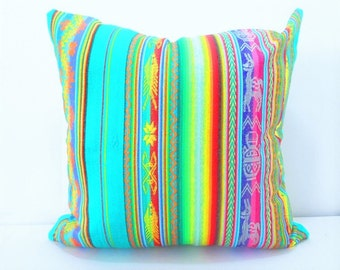 Mexican pillow, Tribal Pillows 20 Inch cover Blue green pillow cover Aztec aqua green Mexican Throw pillow Bohemian decor green pillows
