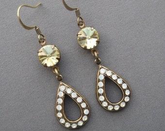 Jonquil Rhinestone Earrings - Yellow Earrings - Drop Earrings - Romantic Earrings - Dangle Earrings - Light Yellow Jewelry - Romantic Gift