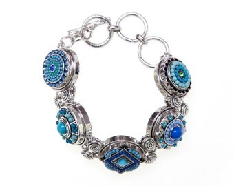 Snap Charm Bracelet w/ 5 x 20 mm Blue snaps will fit Ginger Snaps Jewelry and Noosa jewelry plus other 18-20 mm snap jewelry.